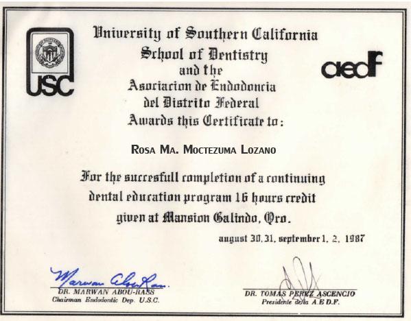 Certificado Dra Rosa Moctezuma